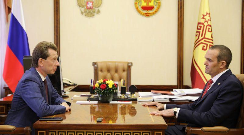 Михаил Игнатьев встретился с председателем Комитета Государственной Думы РФ по экологии и охране окружающей среды Владимиром Бурматовым